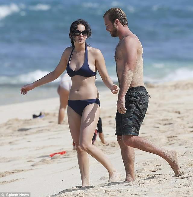 Jennifer Lawrence the beach in Maui