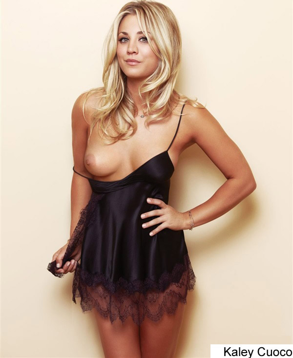 Kaley Cuoco Boob Slip While Wearing Lingerie