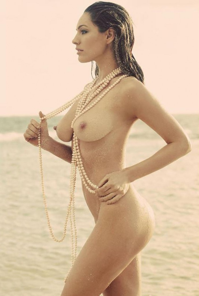 Kelly Brook Nude and Wet with Pearls on the beach