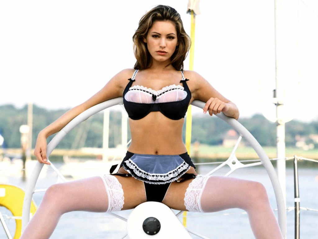Kelly Brook in boat