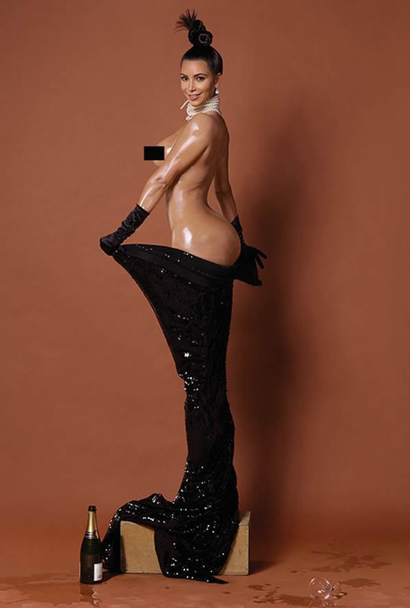Kim Kardashian The 34-year-old was more than happy to bare all for photographer Jean-Paul Goude