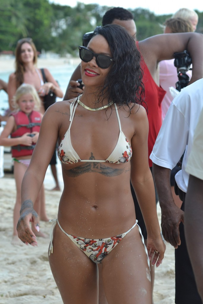 Rihanna on the beach