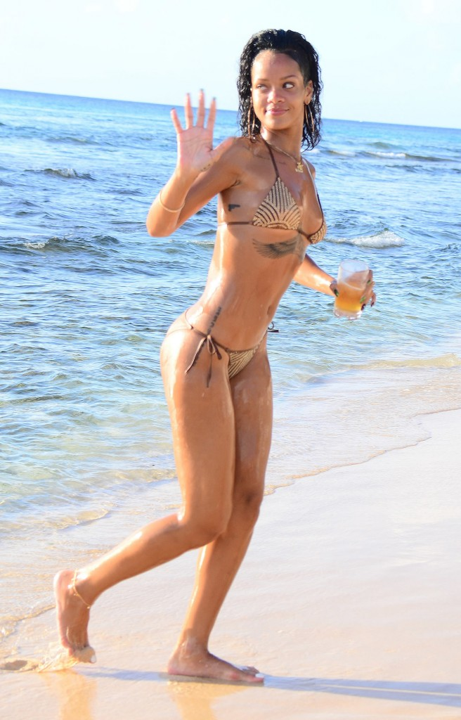 Rihanna on the beach in Beverage