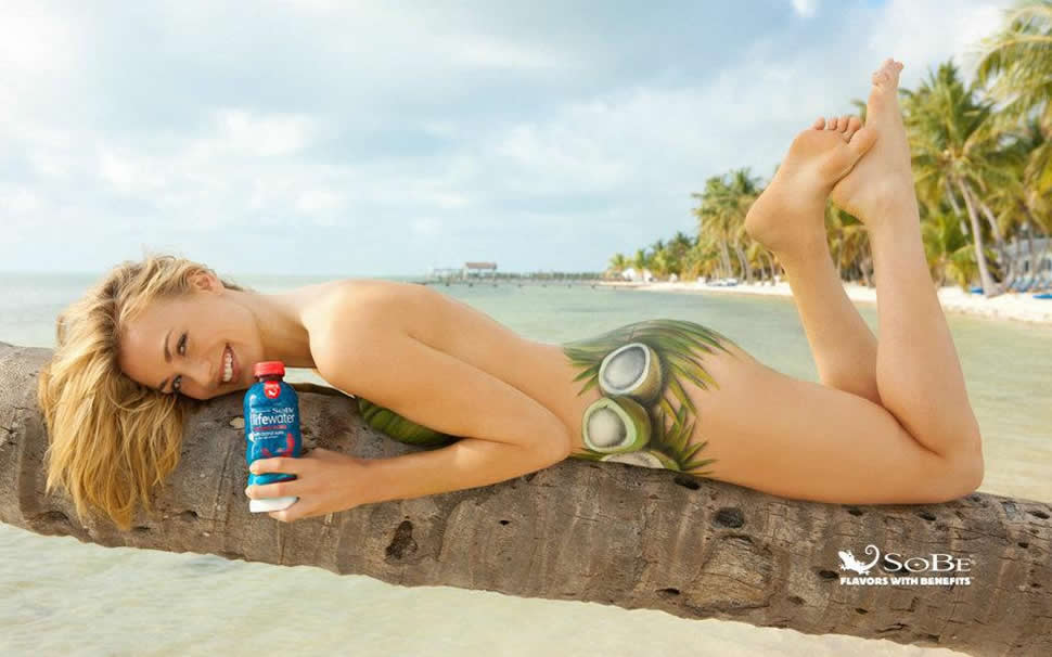 Yvonne Strahovski Body Paint on the beach