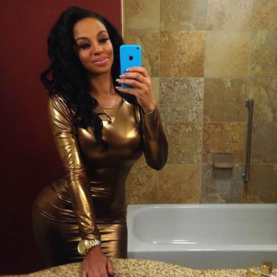 Crystal Renay gold dress photo