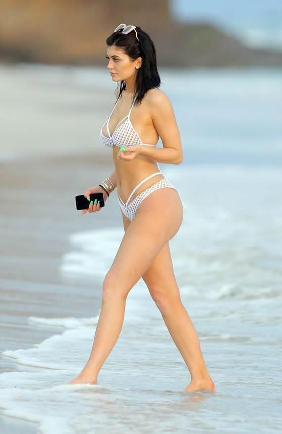 Kylie Jenner White Mesh Bikini