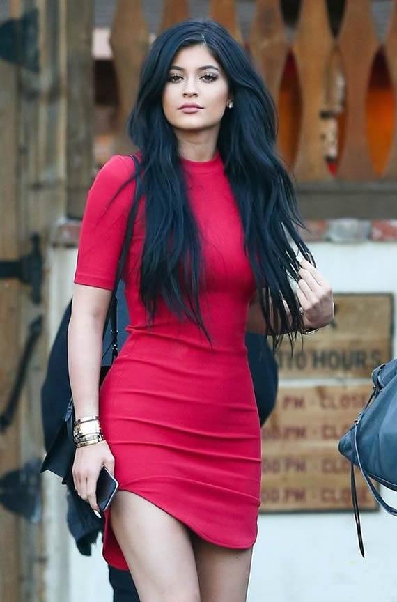 Kylie Jenner in red dress paprazzi photo