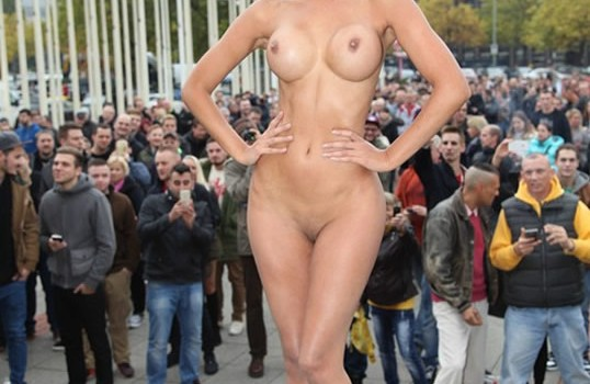 Micaela Schaefer posing naked at the entrance of the VENUS 2015 in Berlin (8 Pics)