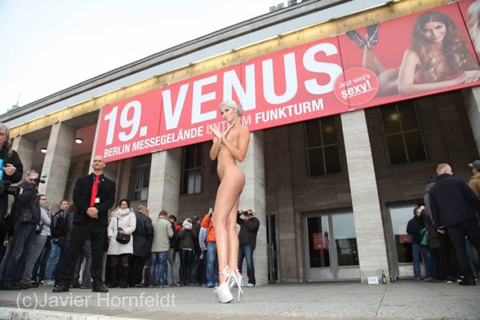 Micaela Schaefer posing naked in Berlin