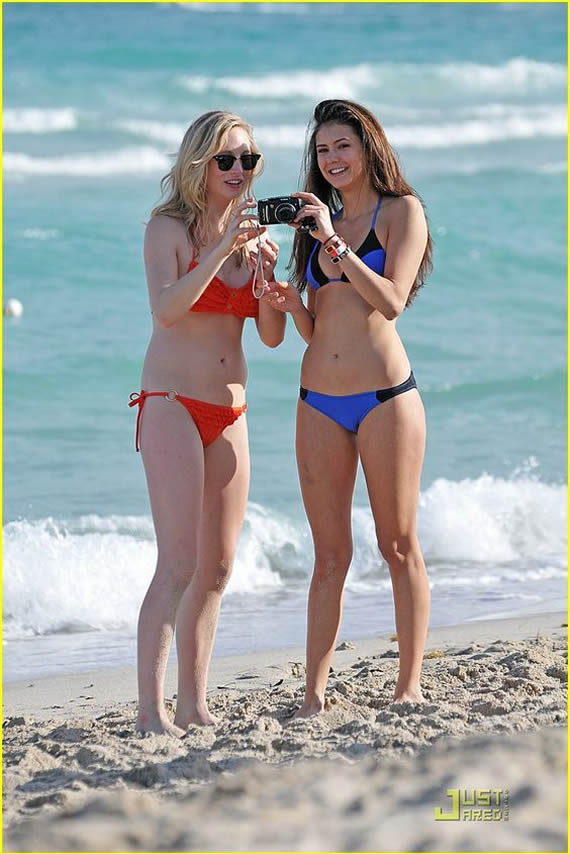 Nina Dobrev in bikini. She has a great body.. very fit without being model skinny