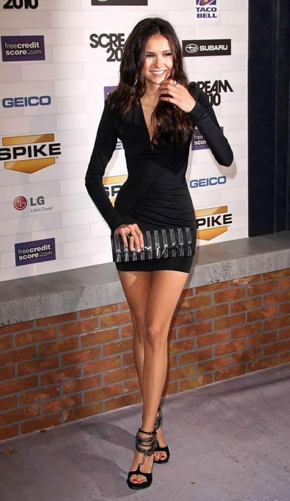 Nina Dobrev sexy legs paparazzi photo