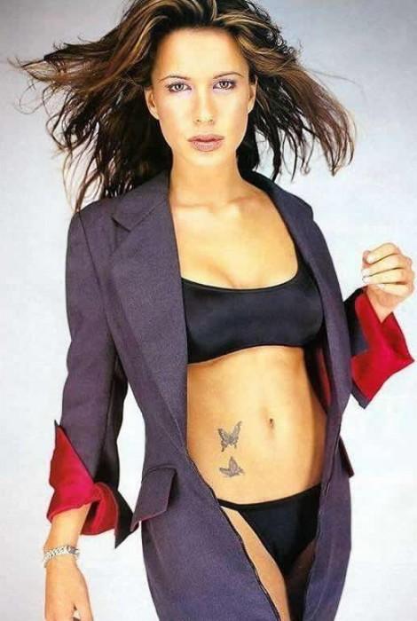 Rhona Mitra in black bikini