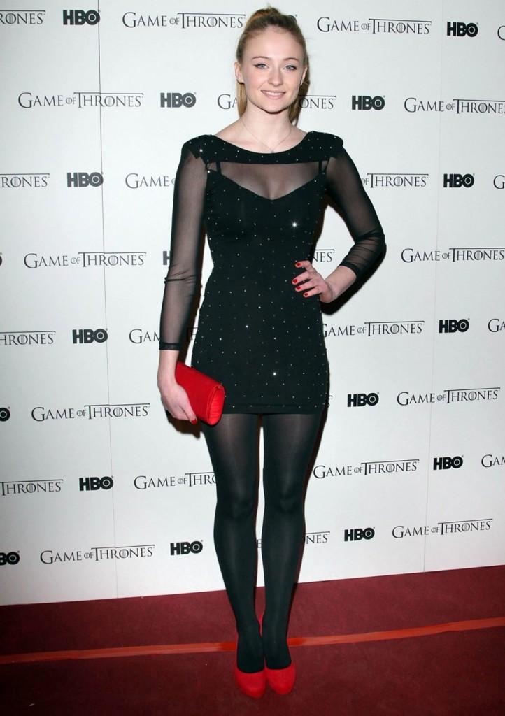 Sophie Turner in black dress