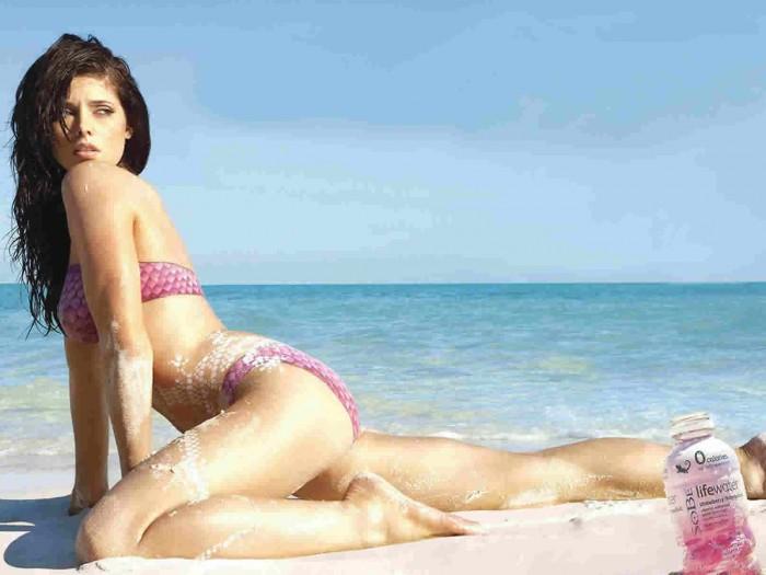 Ashley Greene sexy posing at the beach