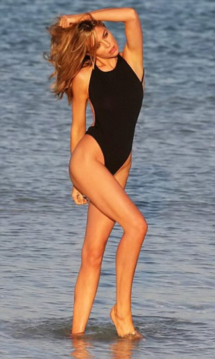 Abbey Clancy in black swimsuit