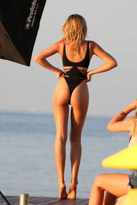Abbey Clancy swimsuit photoshoot in Mallorca