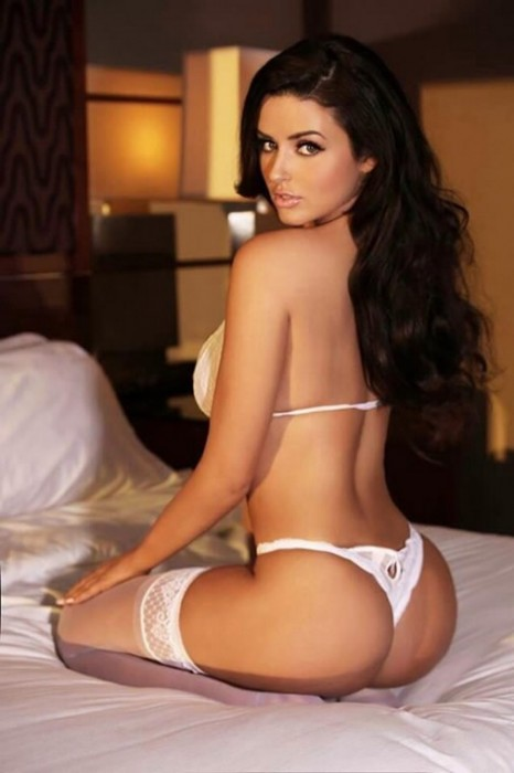 Abigail Ratchford in white lingerie