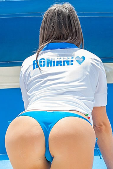 Claudia Romani supports thong Italy at Euro 2016