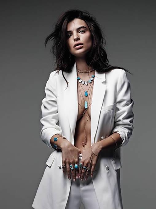 Emily Ratajkowski sexy suit