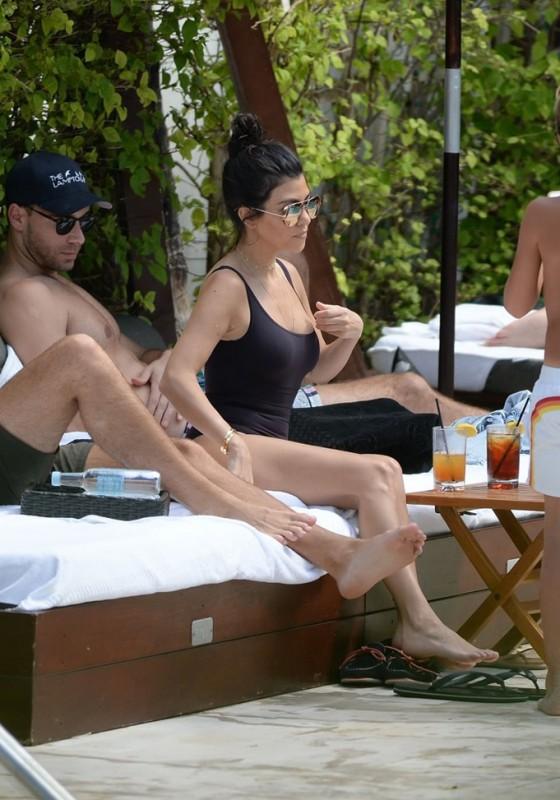 Kourtney Kardashian in Black Swimsuit