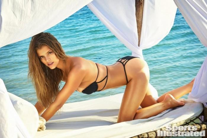Nina Agdal in black bikini