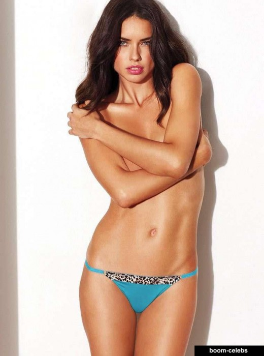 Adriana Lima topless and sexy panties