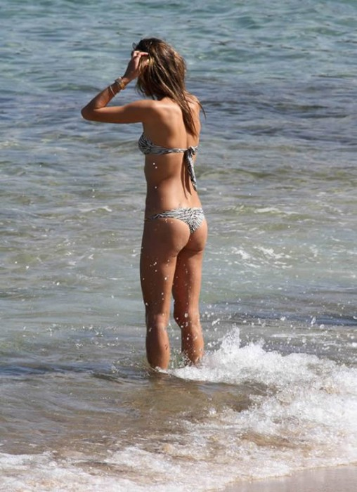 Alessandra Ambrosio in bikini at the beach