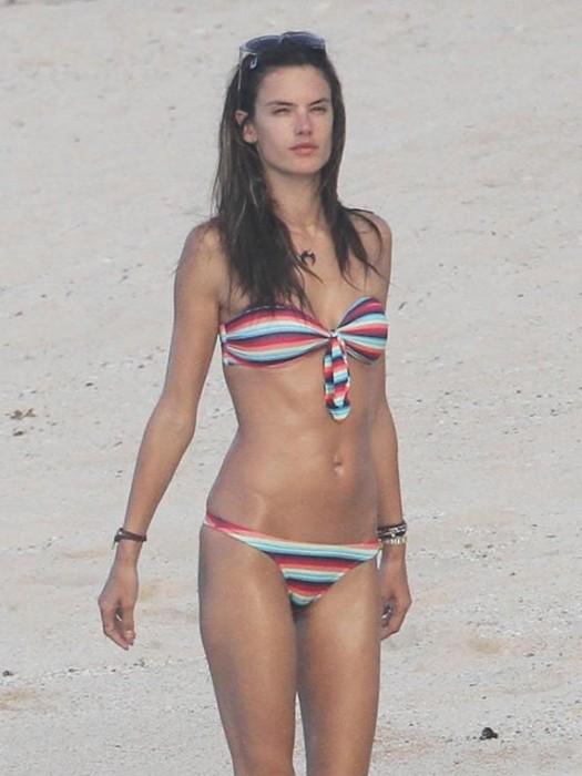 Alessandra Ambrosio in bikini at the beach St. Barts