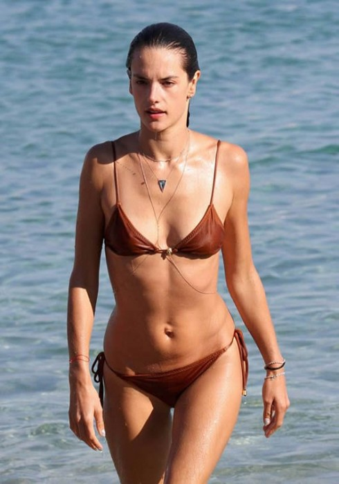Alessandra Ambrosio in red bikini at the beach Mykonos