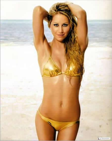 Anna Kournikova in gold sexy bikini