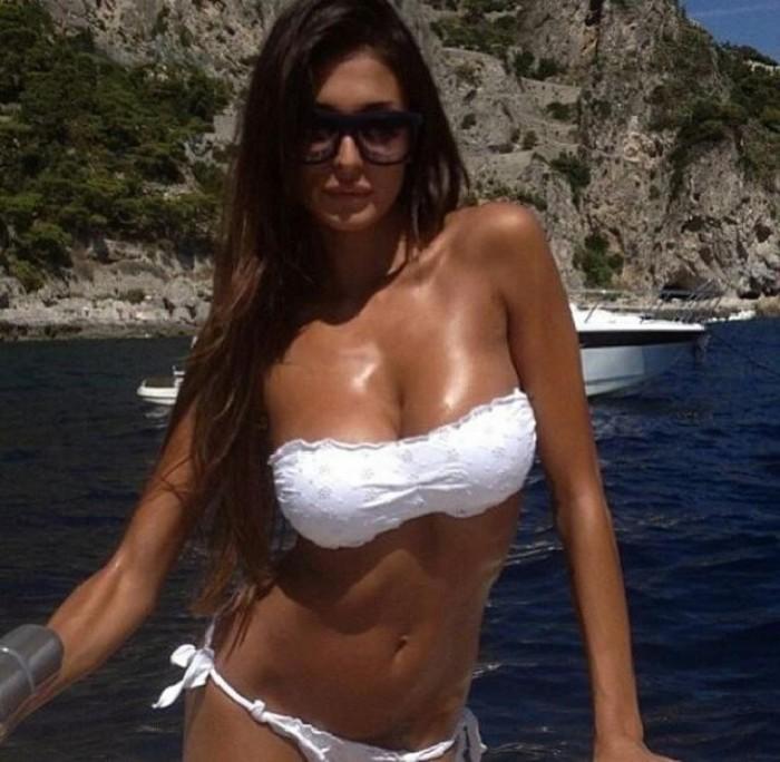 Cristina Buccino in white bikini