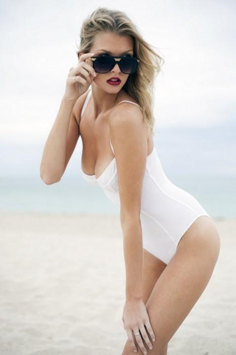 Erin Cummins in white swimsuits