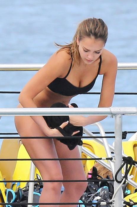 Jessica Alba in black bikini
