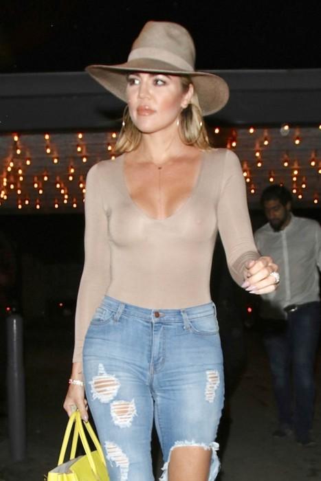 Khloe Kardashian See Through Nip slip