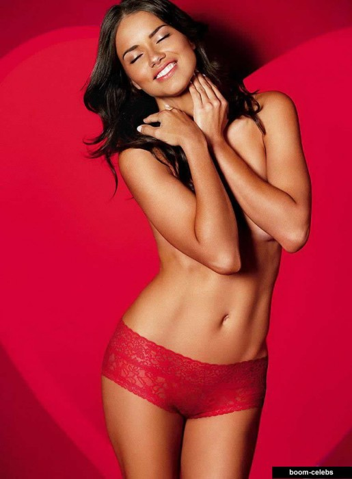Sexy Adriana Lima in red panties