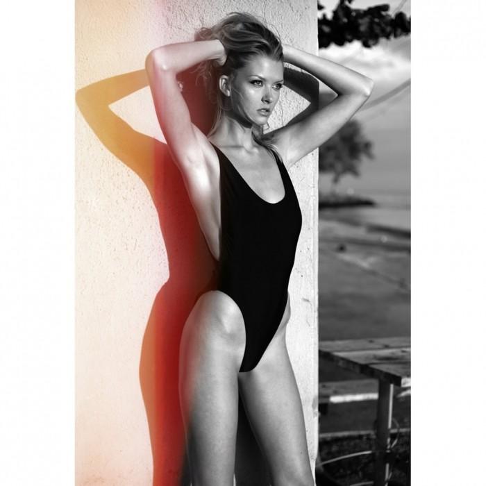 Sexy Erin Cummins in black swimsuits
