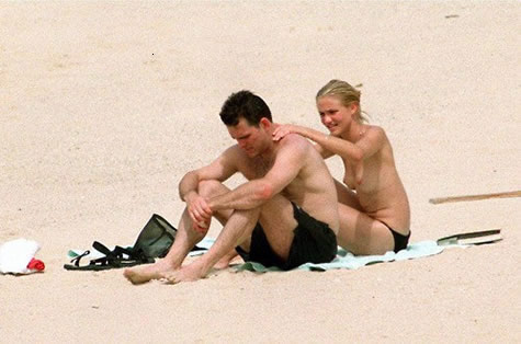 Cameron Diaz topless at the beach photo