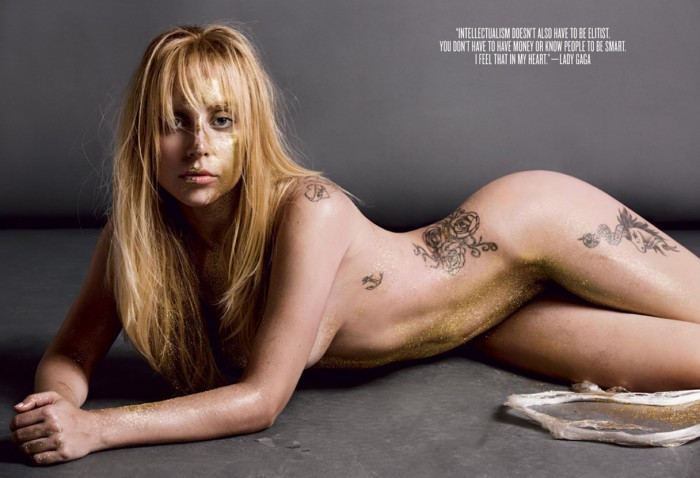 Gold Lady Gaga Nude for V Magazine