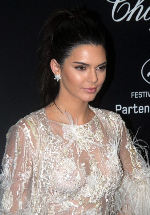 Kendall Jenner Perky Titties in See Through White Lace Dress