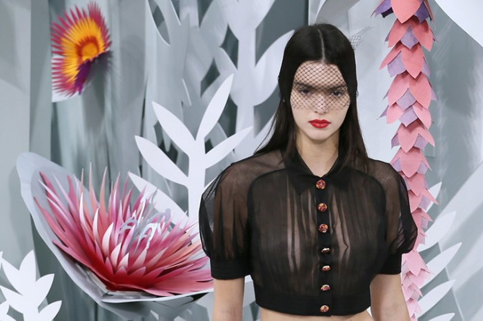 Kendall Jenner in See Through Blouse on the Catwalk