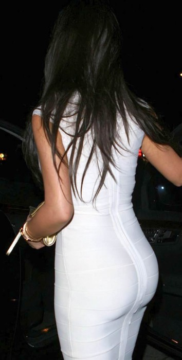 Kim Kardashian in white sexy dress