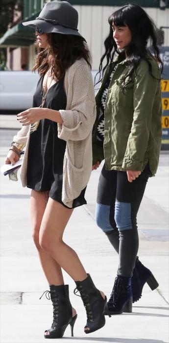 Selena Gomez Braless Pokies in Silk Blouse