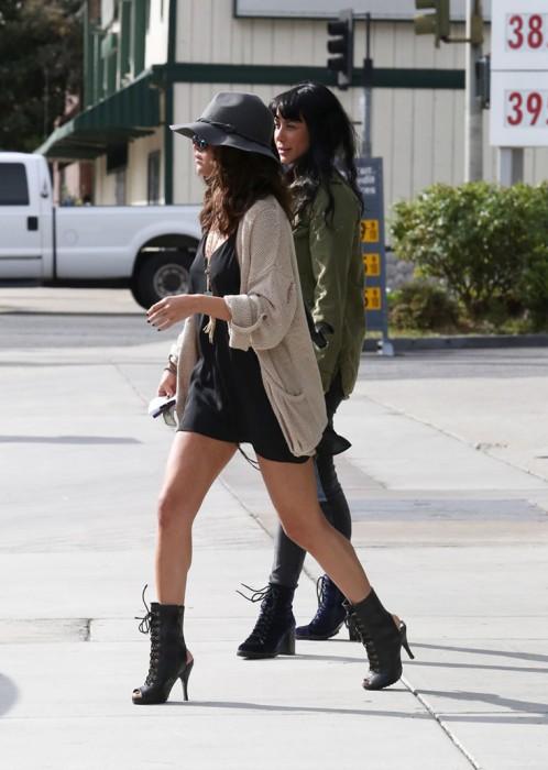 Selena Gomez Braless Pokies in Silk Blouse and sexy legs