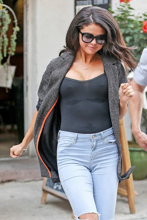 Selena Gomez Goes Out Braless in See Through Top