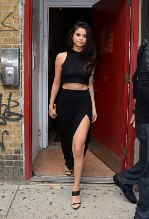 Sexy Selena Gomez Braless in See Through Black Top