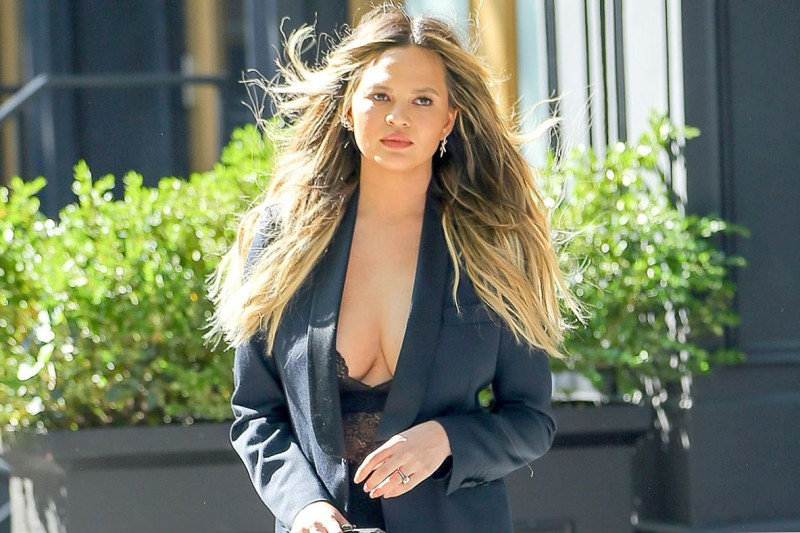 Chrissy Teigen Cleavage Photo in NYC