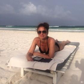 Bianca Westwood in black bikini