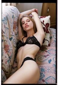 Karola Warzecha in black lingerie