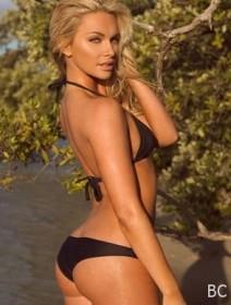 Tara Booher in black bikini