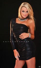 Tara Booher in mini dress